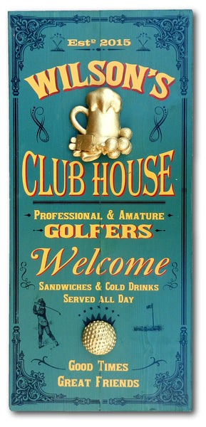 Golf Clubhouse - Vintage Plank Signs