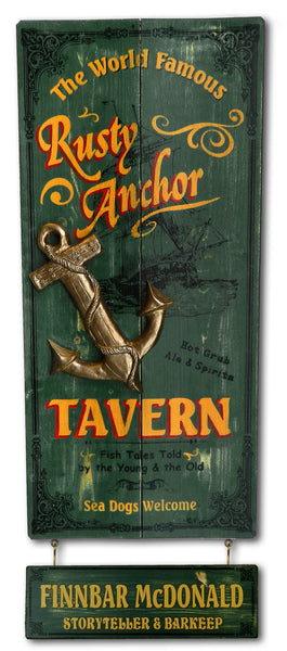 Rusty Anchor - Vintage Plank Signs / Nameplate