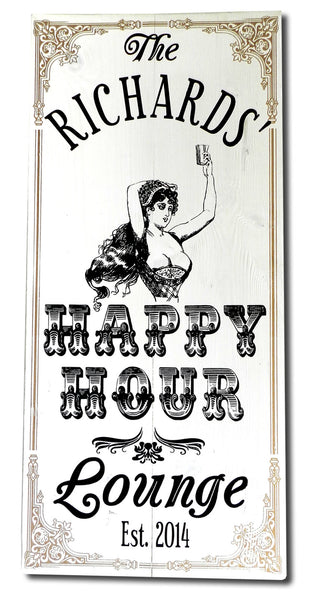Happy Hour Lounge - Vintage Plank Signs