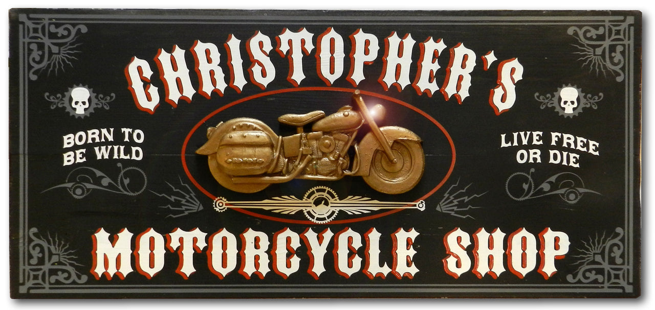 Motorcycle Shop - Vintage Plank Signs