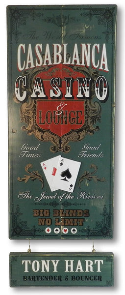 Casino - Vintage Plank Signs / Nameplate