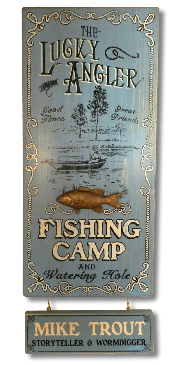 Lucky Angler - Vintage Plank Signs / Nameplate