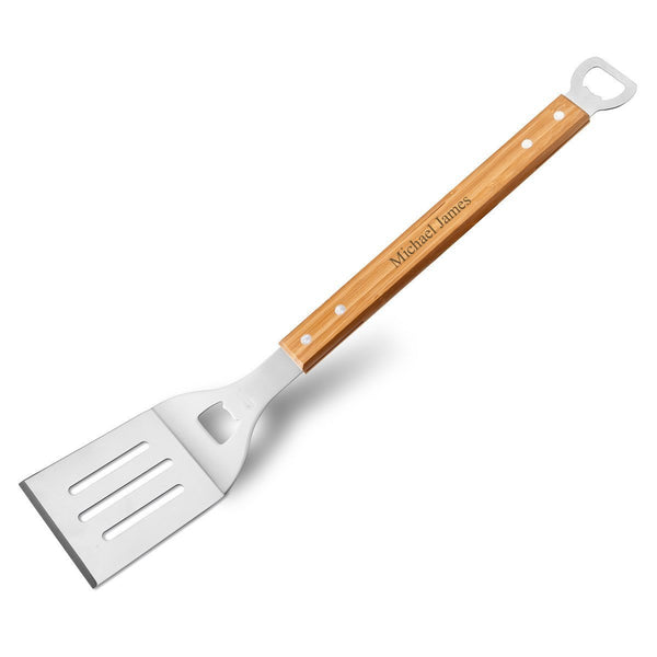 Personalized BBQ Bamboo Spatula with Bottle Opener