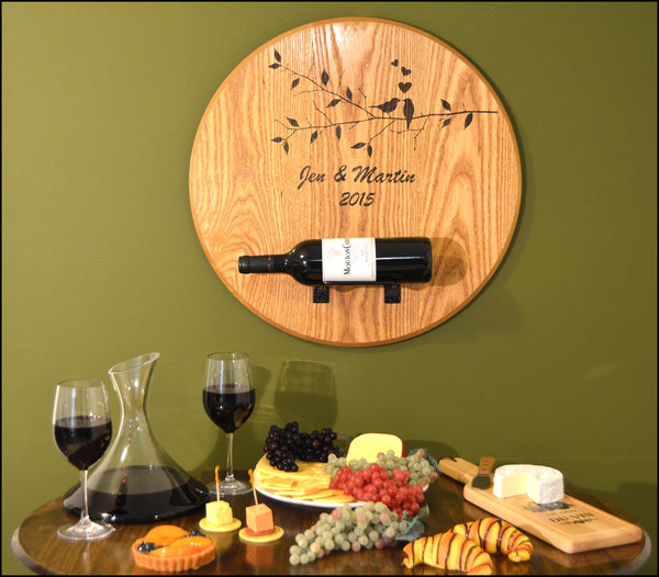 Love Birds-Wedding Barrel Head w/ Bottle Holder