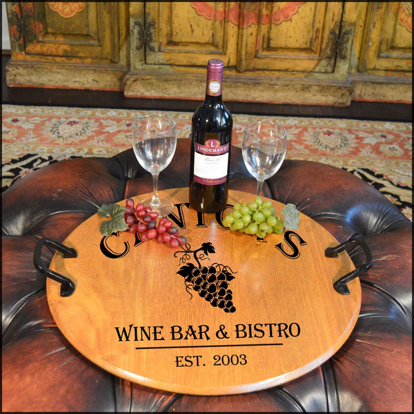 Grapes 1-Barrel Head Serving Tray with Wrought Iron Handles