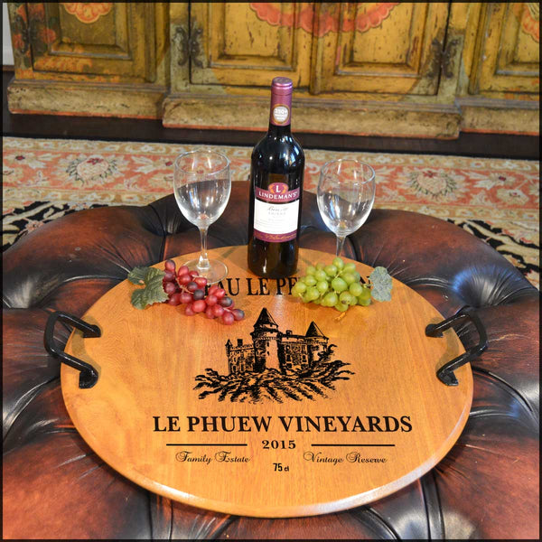 Le Phuew-Barrel Head Serving Tray with Wrought Iron Handles
