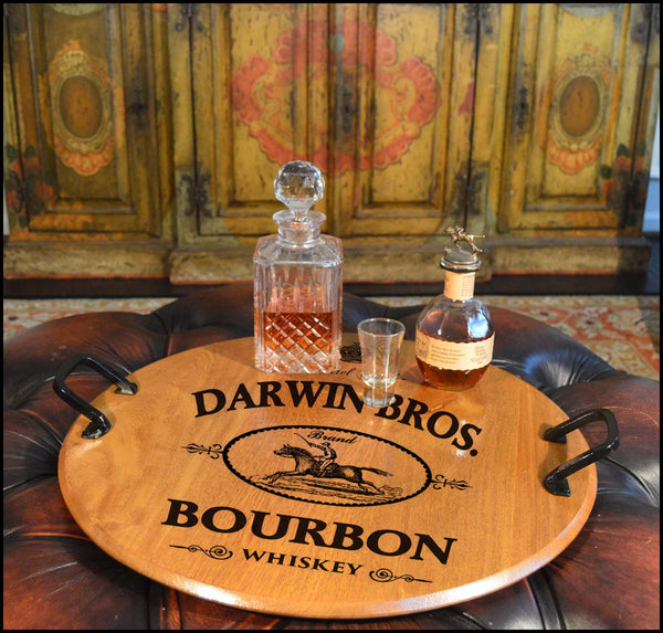 Darwin Bros.-Barrel Head Serving Tray with Wrought Iron Handles
