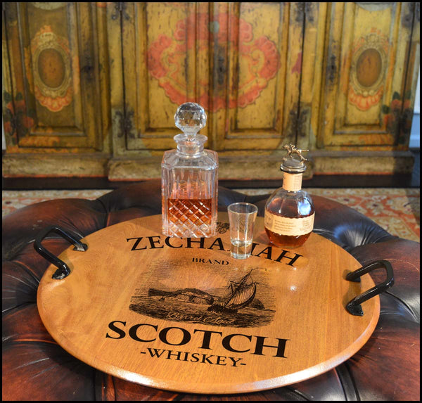 Zechariah Scotch-Barrel Head Serving Tray with Wrought Iron Handles