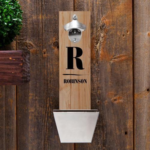 Personalized Family Initial Wall Mounted Bottle Opener and Cap Catcher