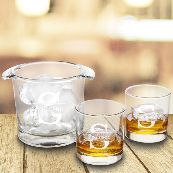 Ice Bucket with 2 Lowball Glasses