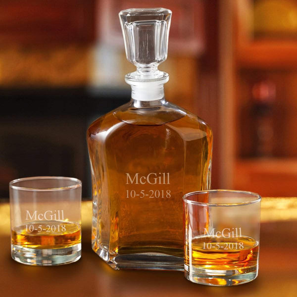 Personalized Decanter Set with 2 Low ball Glasses for Groomsmen