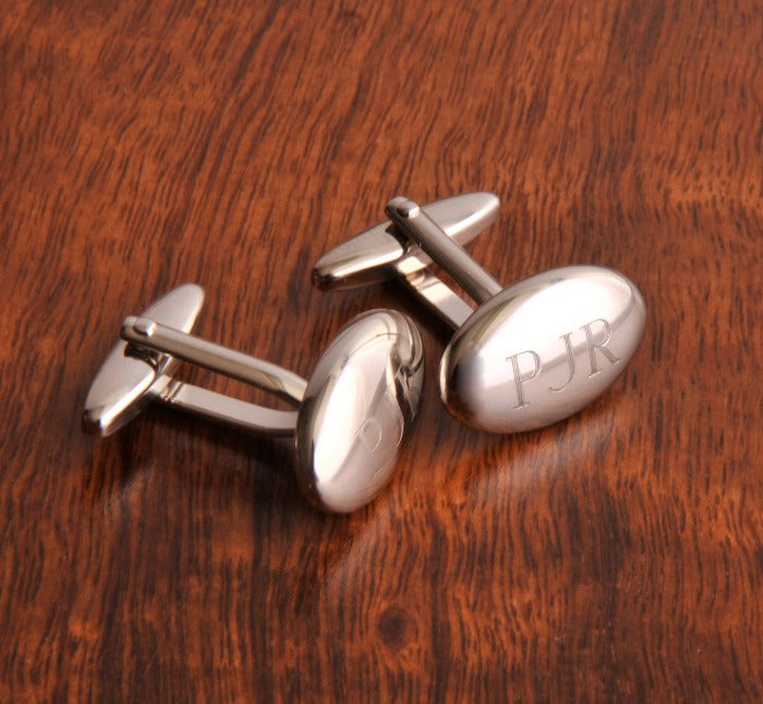 Engraved Oval Polished Cufflinks
