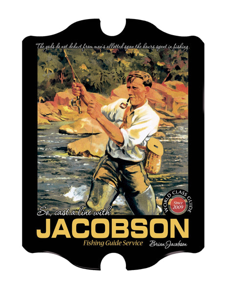 Vintage Personalized Fishing Guide Sign