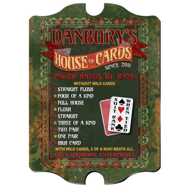 Personalized House of Cards Vintage Sign