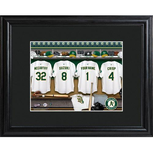 Personalized MLB Clubhouse Print with Matted Frame - Oakland Athletics