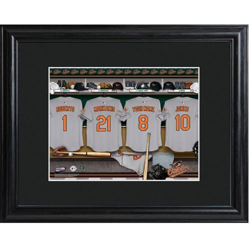 Personalized MLB Clubhouse Print with Matted Frame - Orioles