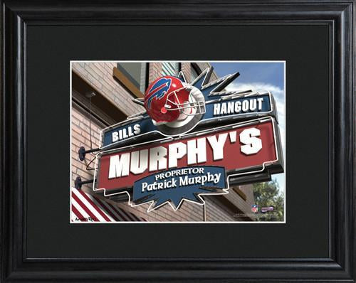 Personalized NFL Pub Sign w/Matted Frame - Bills