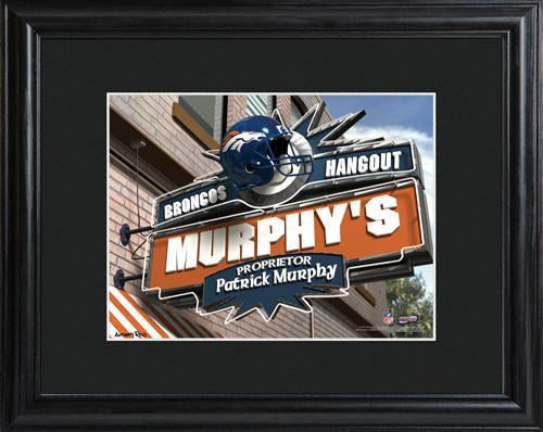 Personalized NFL Pub Sign w/Matted Frame - Broncos
