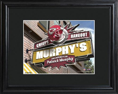 Personalized NFL Pub Sign w/Matted Frame - Chiefs