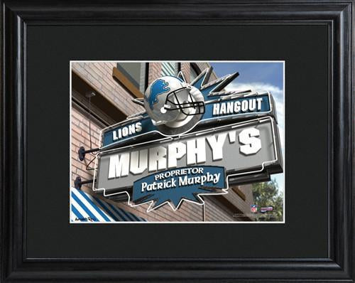 Personalized NFL Pub Sign w/Matted Frame - Lions