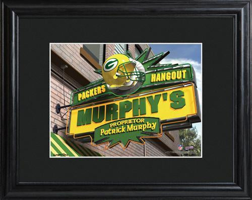 Personalized NFL Pub Sign w/Matted Frame - Packers