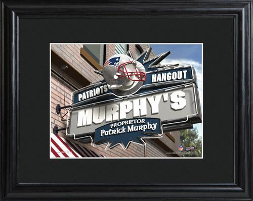 Personalized NFL Pub Sign w/Matted Frame - Patriots
