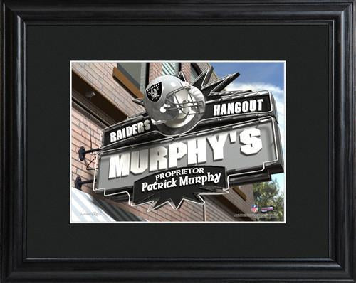 Personalized NFL Pub Sign w/Matted Frame - Raiders