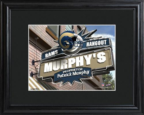 Personalized NFL Pub Sign w/Matted Frame - Rams