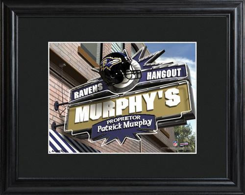 Personalized NFL Pub Sign w/Matted Frame - Ravens