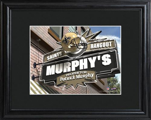 Personalized NFL Pub Sign w/Matted Frame - Saints