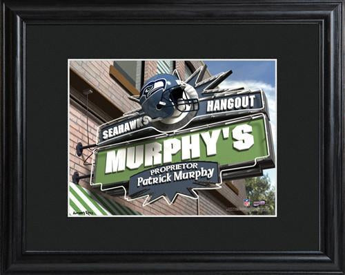 Personalized NFL Pub Sign w/Matted Frame - Seahawks