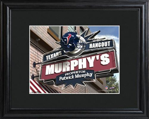Personalized NFL Pub Sign w/Matted Frame - Texans