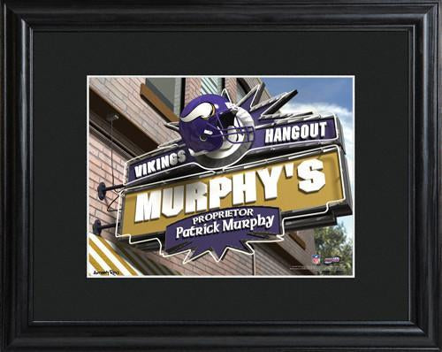 Personalized NFL Pub Sign w/Matted Frame - Vikings