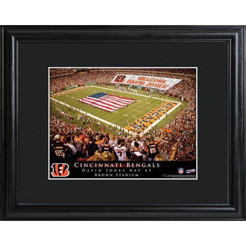 Personalized NFL Stadium Print with Wood Frame - Cincinnati Bengals