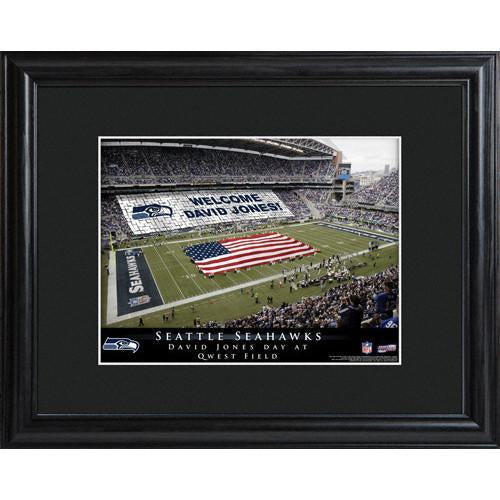 Personalized NFL Stadium Print with Wood Frame -Seattle Seahawks