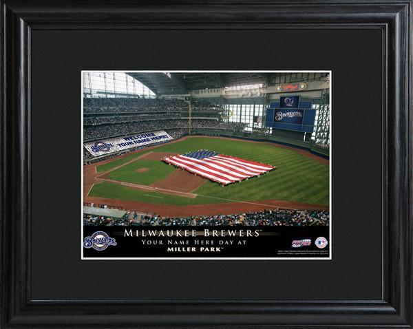 Personalized MLB Stadium Sign w/Matted Frame - Brewers