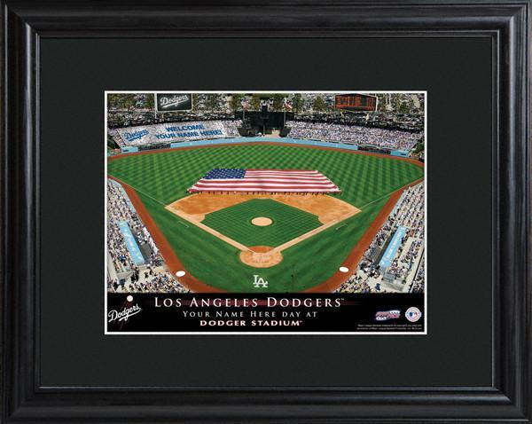 Personalized MLB Stadium Sign w/Matted Frame - Dodgers