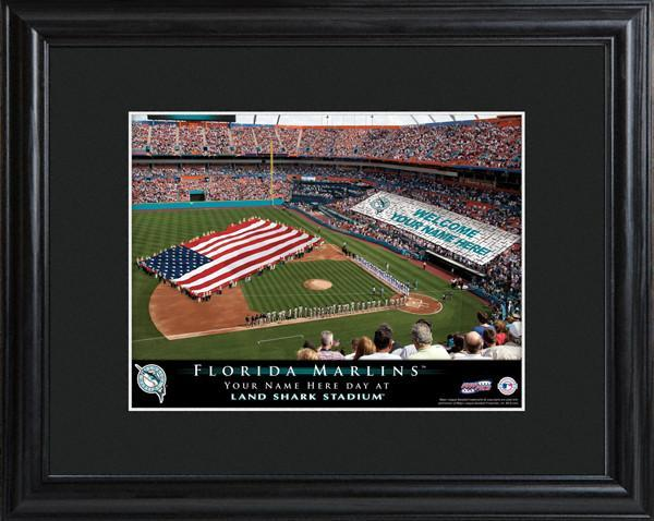 Personalized MLB Stadium Sign w/Matted Frame - Marlins