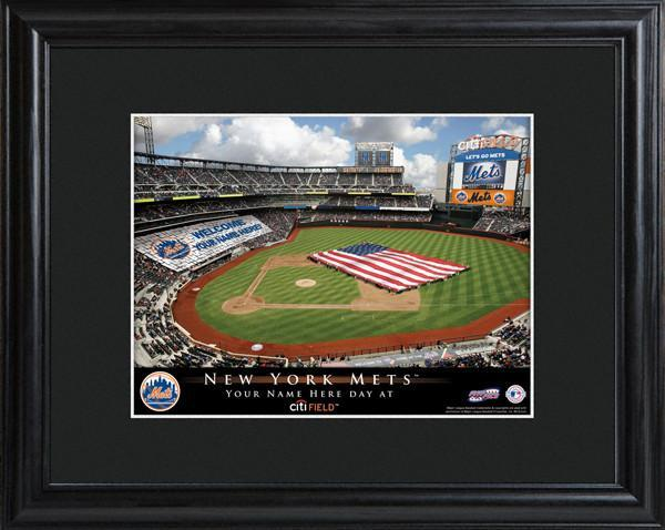 Personalized MLB Stadium Sign w/Matted Frame - Mets