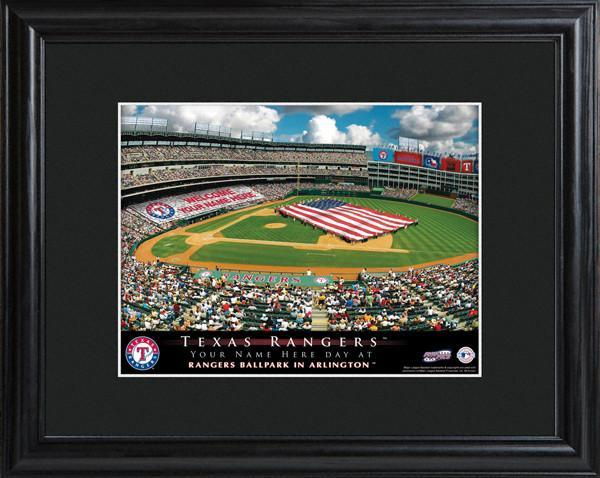 Personalized MLB Stadium Sign w/Matted Frame - Rangers