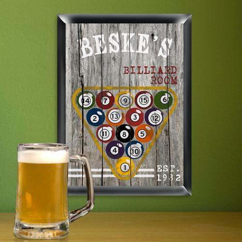 Personalized Vintage Billiards Man Cave Pub Sign