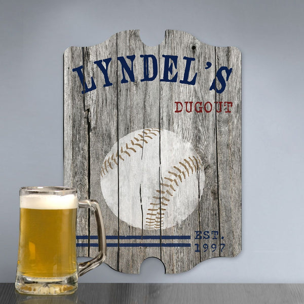 Personalized Vintage Baseball Man Cave Pub Sign