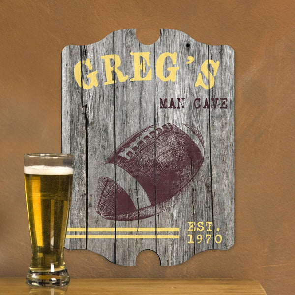 Personalized Vintage Football Man Cave Pub Sign