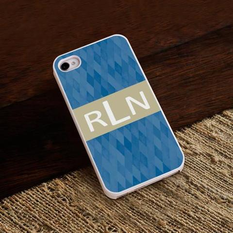 Blue Diamonds iphone Case with White Trim