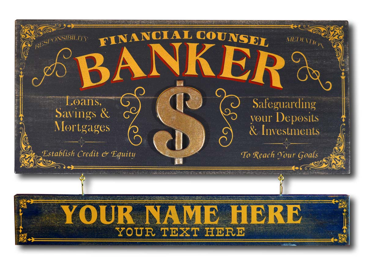 Banker - Occupational Plank Signs