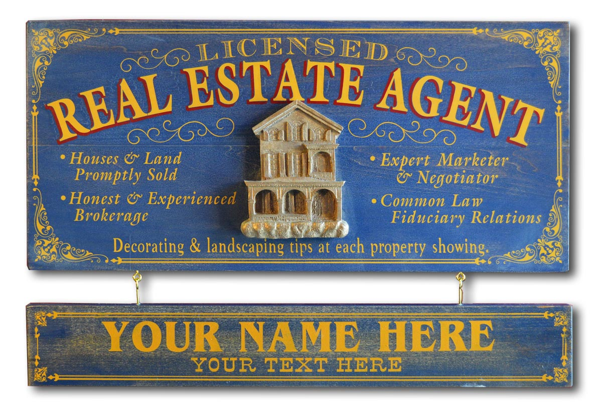 Real Estate Agent - Occupational Plank Signs