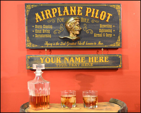 Airplane Pilot - Occupational Plank Signs