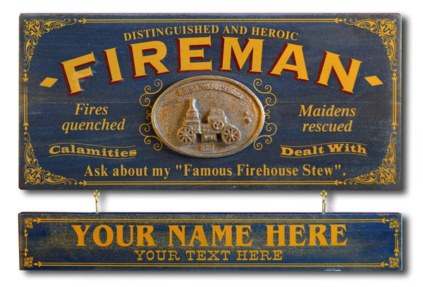 Fireman - Occupational Plank Signs