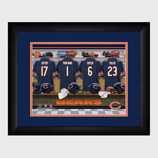 Personalized NFL Locker Sign w/Matted Frame - Bears