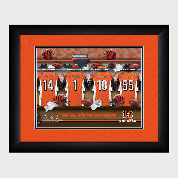 Personalized NFL Locker Sign w/Matted Frame - Bengals